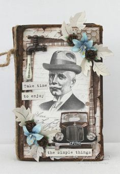 An altered gorgeous brown book with Mister Tim's Treasures