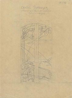 Hector Guimard | Castel Béranger : vitraux de la baie du balcon de l'Agence de Guimard | Images d'Art