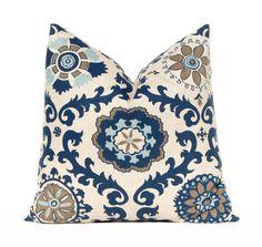 Euro Sham Decorative Throw Pillow Covers 24 x 24 Navy Taupe Aqua on Linen Cushion Sofa Pillows Rosa by Premier Prints. $48.00, via Etsy.