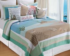 Coastal Bedding - bring nautical style to your bedroom with coastal living style bedspreads, quilts and comforters in many sizes and designs. Coastal Quilts, Coastal Bedding, Coastal Bedrooms, Luxury Bedding, Bedding Decor, Unique Bedding, Coastal Decor, Coastal Style, Coastal Living