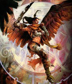 Serra Avenger Magic The Gathering Angel Card Art Wallpaper 1080p Wallpapers