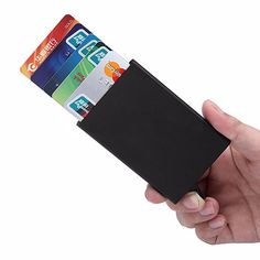 """Universe of goods - Buy """"New Automatic Silde Aluminum ID Cash Card Holder Men Business RFID Blocking Wallet Credit Card Protector Case Pocket Purse"""" for only USD. Rfid Blocking Wallet, Rfid Wallet, Pop Up, Statue Antique, Aluminum Wallet, Leather Card Wallet, Card Storage, Id Holder, Business Card Holders"""