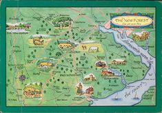 the New Forest UK map postcard in Europe > United Kingdom > Other / Unsorted National Parks Map, Ecommerce Solutions, Picture Postcards, New Forest, Rare Pictures, Southampton, Royal Mail, Places To Travel, United Kingdom
