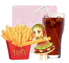 DAV-19, French Fries, Food (Personification), Straw, Glass (Cup), Cheese