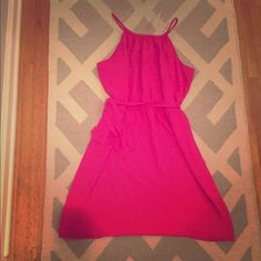 Pink Loft dress NWT! Bright Pink Loft dress. Fully lined. Perfect for a night out or to work with a cardigan. LOFT Dresses Midi