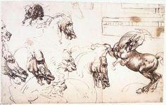 Leonardo Da Vinci-Study of horses for the Battle of Anghiari