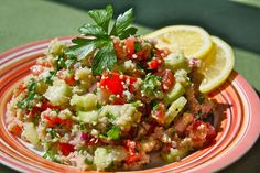 Tabouleh - This is the best summer salad!  Made with homegrown tomatoes and cucumbers, onion, parsley, and lemon.  Oh my!