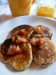 Teff Grain and Ricotta Pancakes with Apple Topping Recipe on Teff Recipes, Gourmet Recipes, Baking Recipes, Healthy Recipes, Apple Topping Recipe, Ricotta Pancakes, Pancakes Easy, Healthy Grains, Peanut Butter Cookie Recipe