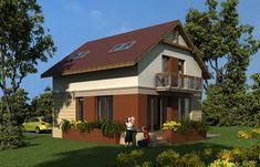 Proiecte de case cu etaj mansardat - exterioare bine asortate