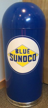 Click for more information about Blue Sunoco Dome Top Garage Trash Can Blue Sunoco Retro Trash Cans