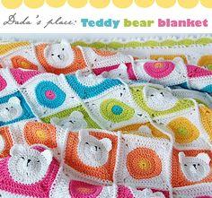Teddy bear granny square baby blanket pattern