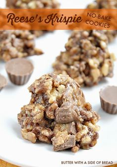 Reese's Krispie No-Bake Cookies~ just a few minutes and you've got a sweet, delicious treat!  #recipe #dessert Butter With A Side of Bread