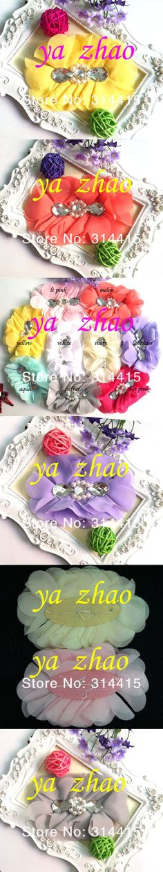 "4"" chiffon silk rhinestone hair flower, baby headband hair Accessories, 9 colors in stock, 200pcs/lot, free by EMS"