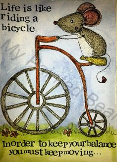 Life is like riding a bike 5'' x 7'' by MyPaintedBear on Etsy, £20.00