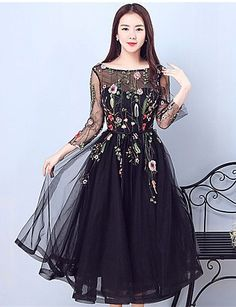 A-Line Illusion Neckline Tea Length Tulle Cocktail Party Prom Dress with Embroidery 2018 - Prom Party Dresses, Cute Dresses, Beautiful Dresses, Evening Dresses, Formal Dresses, Illusion Dress, Illusion Neckline, Cheap Prom Dresses Online, Lace Dress