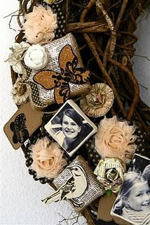 Personal meaningful momentos on a wreath - how nostalgic!!