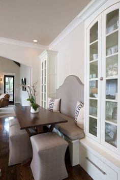 dining room table w curved bench and 4 monogrammed chairs