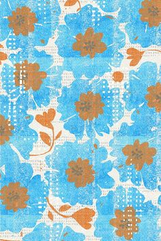 blue blooms-spring-watercolor by ottoman brim.  Bold blue aqua colored flowers with orange/rust colored accents on a textured background.  Available in fabric, wallpaper, and gift wrap.