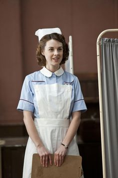"""Call The Midwife"" Jenny Lee (Jessica Raine). Photo by John Rogers, © Neal Street Productions, British Costume, Medical Photos, Call The Midwife, Vintage Nurse, Fancy Costumes, Bbc One, Supergirl, Costume Design, Favorite Tv Shows"