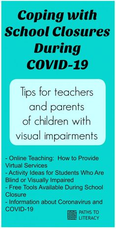 Tips and resources for teachers and parents of children with visual impairments for coping during school closures Teaching Activities, Learning Resources, Teacher Resources, Multiple Disabilities, Learning Disabilities, Teaching Technology, Assistive Technology, Study Skills, Life Skills