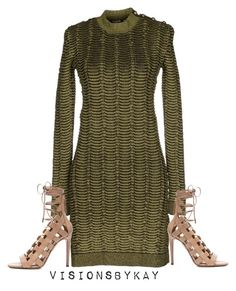 """""""Untitled #330"""" by kaythefrugalista on Polyvore featuring Balmain and Aquazzura"""