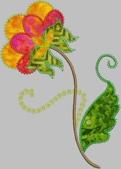 Jacobean Springflowers Applique Embroidery