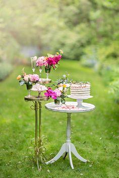 Unique dessert display tables | Maru Photography | see more on: http://burnettsboards.com/2014/08/hidden-garden-bridal-inspiration/