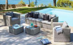 Salon de jardin pliant gris en tissu et acier (4 places) - Alinéa ...