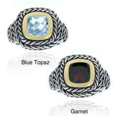 Glitzy Rocks Sterling Silver Gemstone Rope Design Ring