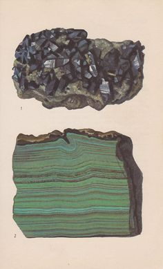 Vintage Print Rocks and Minerals Azurite and by PineandMain. $6.00, via Etsy.