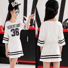 2015 primavera verano vestido blanco para las niñas una línea de cuello o letras de los vestidos ocasionales 6 7 8 9 10 12 13 14 15 16 años de edad los niños ropa en Vestidos de Bebés en AliExpress.com | Alibaba Group