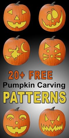 FREE pumpkin carving stencils patterns templates and designs. Use these printable pumpkin carving patterns for marking a pumpkin (Jack O Lantern) Halloween decorations costumes. Printable Pumpkin Carving Patterns, Scary Pumpkin Carving Patterns, Printable Pumpkin Stencils, Cute Pumpkin Carving, Halloween Pumpkin Carving Stencils, Disney Pumpkin Carving, Halloween Pumpkins, Halloween Halloween, Halloween Labels