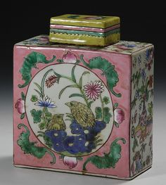 19th c. Chinese Famille Rose Tea Caddy