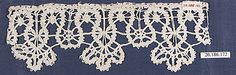 Fragment of lace edging, (linen?) bobbin lace, 17th century, Italian. Metropolitan Museum of Art accession no. 20.186.172