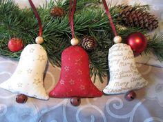Baumschmuck: Stoff - Weihnachtsbaumschmuck Glocke 3tlg. - Landhaus - ein Designerstück von mit-Stich-und-Faden bei DaWanda