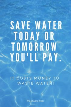 Save water today or tomorrow you'll pay. A short save water slogan from our 21 amazing save water slogans with images post. You'd be surprised to know how much water you can loose each year through leaking taps! Learn about water conservation ideas here. Save Water Quotes, Save Water Save Life, Life Slogans, Cool Slogans, Save Water Slogans, Global Warming Issues, Water Footprint, Conservative Quotes, Importance Of Water