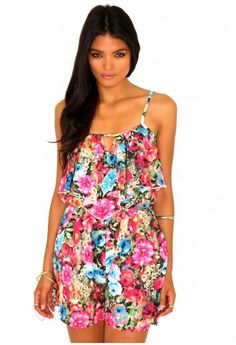 Missguided - Catelin Floral Keyhole Playsuit  $23