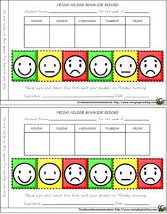 Printable Behavior Charts Smiley face behavior charts for weekly ...