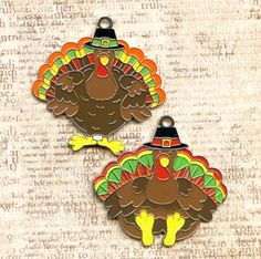 Turkey Pilgram Charms by sissiessupplies on Etsy, $1.00