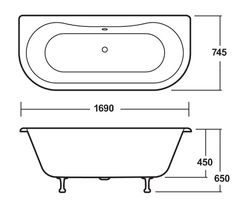 Premier 1700 Double Ended Back to Wall Free Standing Bath with Chrome Leg Set at Victorian Plumbing UK Roll Top Bath, Standing Bath, Bathroom Plans, Wall Installation, Surface Finish, Luxury Bath, Bath Design, Plumbing, Chrome