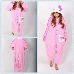 fc09a715798 Pink Leopard Print Hello kitty Cat Kigurumi Onesie Pajama