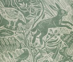 Harvest Hare Fabric A wonderful countryside scene of hares, pheasants and birds set in a swaying cornfield, printed on natural linen in dawn grey. Designed by Mark Hearld.