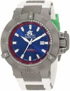 Invicta Men's 1586 Subaqua Noma III Blue Dial White Polyurethane Watch Invicta. $169.99. Date function. Blue dial with silver tone hands and hour markers; luminous; red inner bezel; unidirectional bezel; screw-down crown with protective clasp; limited edition. Water-resistant to 500 m (1640 feet). Flame-fusion crystal; titanium blasted stainless steel case; white polyurethane strap with grey textured stainless steel accents. Swiss quartz movement