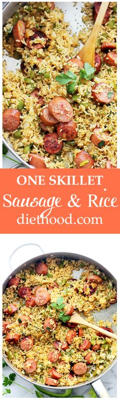 One-Skillet Sausage and Rice - Easy, 30-minute, one-skillet meal with smoked turkey sausage, fluffy white rice and flavorful veggies. Get the recipe on diethood.com