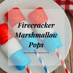 Festive and patriotic recipe for the of July. Make these red, white, and blue firecracker marshmallow pops this summer. Fourth Of July Food, 4th Of July Celebration, 4th Of July Party, July 4th, Summer Recipes, Holiday Recipes, Patriotic Recipe, Holiday Crafts For Kids, Holiday Ideas