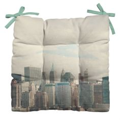 Catherine McDonald Lower Manhattan NYC Outdoor Seat Cushion | DENY Designs Home Accessories #travel #wanderlust #adventure