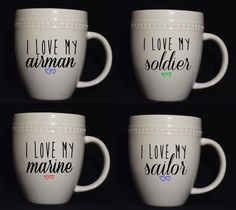 Military Love Mugs - MADE TO ORDER. $23.00, via Etsy.  #military #gifts #giftideas