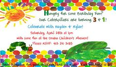 "Free download of ""The Very Hungry Caterpillar"" birthday invite for more than one birthday child."