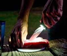 Light Up Tactical Knife . Surviving the outdoors is about to get a whole lot easier with the light up tactical knife in your arsenal . Cool Camping Gadgets, Cool Gadgets, Camping Gear, Camping Places, Eat Your Heart Out, Your Soul, Specialty Knives, Cool Inventions, Camping Essentials