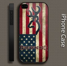browning deer us flag for iphone 4 4s 5 5s 5c 6 and samsung galaxy S3 S4 S5 case #UnbrandedGeneric